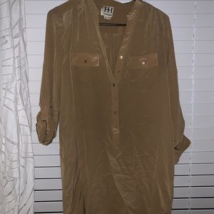 Haute Hippie Silk shirt dress-taupe